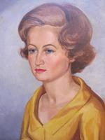 Large Oil on Canvas Girl in the Yellow Dress Artist A Wright 1962 (6 of 10)