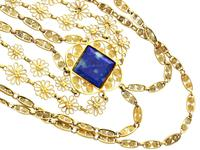5.55ct Lapis Lazuli & 18ct Yellow Gold Necklace - Antique Victorian c.1870 (4 of 12)