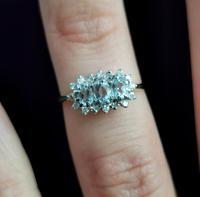 Vintage Aquamarine and Diamond Three Stone Cluster Ring, 9ct Gold (12 of 12)