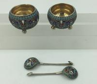 Pair of Imperial Russian Silver Enamelled Cauldron Salts Gustav Klingert 1896 (4 of 10)