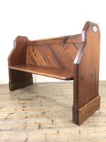 Antique Pitch Pine Church Pew with Enamel Number 35 (4 of 12)