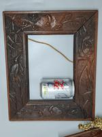 Fabulous Large Pair of Aesthetic Movement Oak Picture or Mirror Frames,Bats & Birds in Reeds c.1900 (6 of 8)