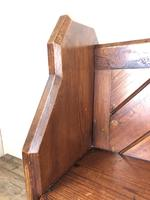 Antique Pitch Pine Church Pew with Enamel Number 28 (7 of 12)