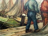 Cornish School - Large early 1900s Oil Painting of Fishermen Pulling in the Nets (11 of 14)