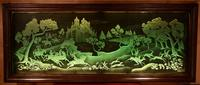 Magnificent Art Deco Illuminated Etched & Engraved Very Large Glass Wall Decoration