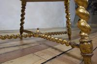 19th Century French Square Giltwood & Upholstered Stool Ottoman - Table (6 of 10)