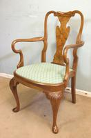 Set of Eight Queen Anne Style Walnut Dining Chairs (5 of 15)