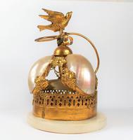Rare 19th Century Palais Royal Gilt Dove Bird & Mother of Pearl Bell (8 of 12)