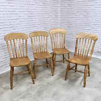 Set of 4 Golden Coloured Lathback Kitchen Chairs