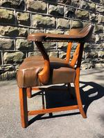 Antique Walnut & Leather Desk Chair (5 of 8)