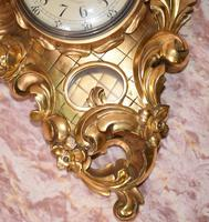 Scandanavian Wall Clock Antique Carved Rococo Giltwood Clocks (7 of 10)