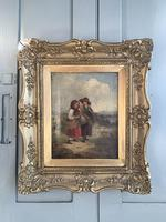 Antique oil painting study of peasant girls carrying sheaves of corn (9 of 10)