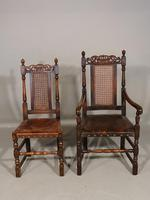 Well Carved Set of 5 '4+1' Carolean Style Oak Chairs c.1910 (4 of 9)