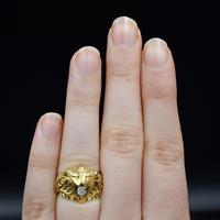 Antique Diamond Lions Head and Laurel Leaf 18ct 18K Yellow Gold Ring (7 of 9)