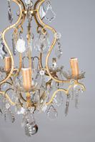 Lovely French Glass & Brass Five Arm Chandelier (3 of 7)