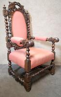 Pair of Victorian Jacobean Style Carved Oak Armchairs (7 of 12)