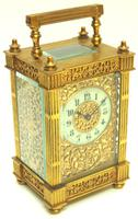 Fantastic French 8-day Fleur De Lis Decorated Panel 8-day Carriage Clock Timepiece c1890 (3 of 10)