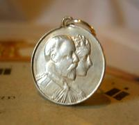 Antique Pocket Watch Chain Coin Fob 1902 Coronation King Edward V11 & Alexandra (2 of 3)