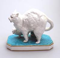 Highly Unusual Novelty Frightened Cat Porcelain Striker / Match Holder 19th Century (9 of 13)