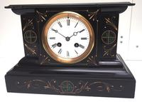 Very Fine French Slate & Marble Mantel Clock Classic 8 Day Striking Mantle Clock (2 of 13)