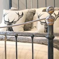 Charcoal Victorian Bed with Nickel Plating (9 of 11)