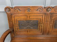 Late 19th Century Carved Oak Bench (4 of 12)