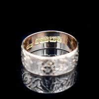 Antique Fancy Engraved Floral Patterned 9ct 9K Gold Stacking Band Ring (8 of 9)