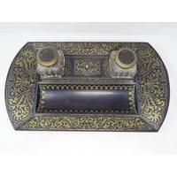 19th Century Brass Inlaid Twin Inkwell Stand c.1850 (2 of 7)