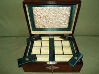QUALITY Inlaid Figured Walnut Jewellery Box + Tray c.1870 (11 of 14)