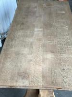 French Bleached Oak Trestle End Farmhouse Dining Table (9 of 19)