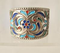 Pretty Imperial Russian Silver & Cloisonné Napkin Ring Moscow c.1890 (2 of 6)