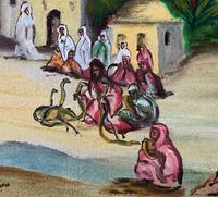 The Snake Charmer - Moroccan School - Vintage - 1960s - Original Oil Painting (5 of 11)