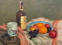 Exceptional Original Vintage Still Life of Fruit & Wine French Oil Painting (3 of 12)