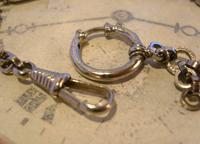 Pocket Watch Chain 1930s German Art Deco Silver Chrome & Goldstone Albert Nos (8 of 12)