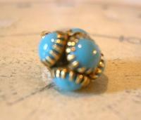 Georgian Pocket Watch Chain Fob 1830s Golden Gilt & Turquoise Dainty Ball Fob (7 of 7)