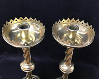 Pair of Wonderful Large Brass Gothic Revival Altar Candlesticks (4 of 7)