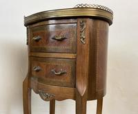 French Marquetry Bedside Tables Oval Cabinets with Marble Tops (7 of 12)