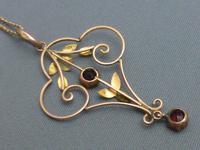 Edwardian 9ct Rose Gold & Garnet Pendant Chain (3 of 6)