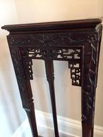 Tall Chinese Hardwood Jardinière Plant Stand with Marble Top (8 of 11)