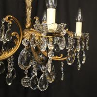 Italian Gilded Brass 5 Light Antique Chandelier (6 of 10)