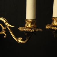 French Pair of Brass Wall Sconces c.1930 (4 of 10)