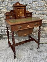 Antique Rosewood Inlaid Writing Desk (17 of 19)