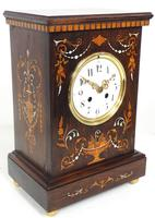 Incredible Rosewood Cased Mantel Clock with Multi Wood & Mother of Pearl Inlay 8–day Striking Clock (5 of 12)