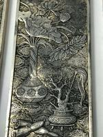 Set of 4 Antique Chinese Silver Zu Yin Hallmarked Scroll Weight Plaques Guangxu (8 of 12)
