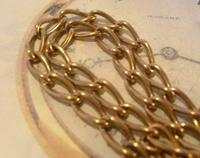 Antique Pocket Watch Chain 1890s Victorian Large Brass Albert With T Bar T*H (5 of 12)