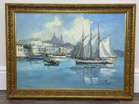 Dutch Oil Painting Fishing Harbour Channel Coast Signed Bernhard Laarhoven (3 of 34)