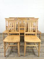 Set of Eight Vintage Beech Chapel Chairs (4 of 16)