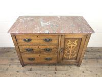 Antique Oak Arts & Crafts Marble Top Cupboard (11 of 12)