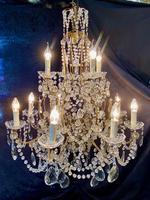 Large Twelve Light Florentine Gilt Framed Antique Chandelier