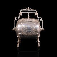 Antique Engraved Biscuit Barrel, Silver Plate, Decorative Jar, Victorian c.1860 (3 of 12)